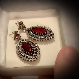 RUBY FINE EARRINGS Solid 925 Sterling Silver/Gold
